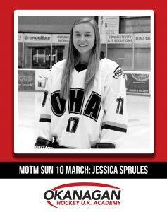 Jess sprules ice hockey man of the match